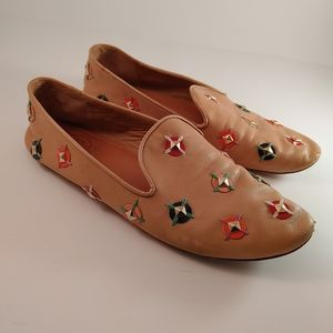 Tory Burch 8M Leather Jasmine Embellished Loafers